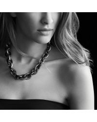 David Yurman | Metallic Midnight Mélange Oval Link Necklace with Black and White Diamonds | Lyst