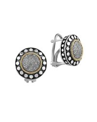 Effy | Metallic 925 Sterling Silver, 18k Yellow Gold And Diamond Earrings | Lyst