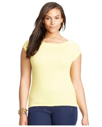 Lauren by Ralph Lauren - Yellow Plus Size Cap-Sleeve Top - Lyst