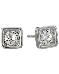 COACH - Metallic Pave Square Stud Earrings - Lyst