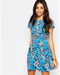 Fallen Star - Multicolor Flute Hem Skater Dress In Floral Print - Lyst