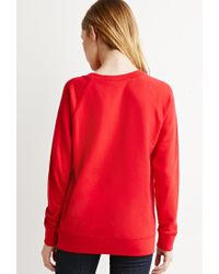 Forever 21 | Red French Terry Raglan Sweatshirt | Lyst