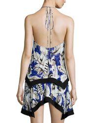 Roberto Cavalli - Black Floral-print Georgette Halter Dress - Lyst