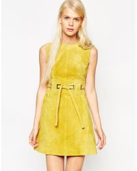 ASOS - Yellow A-line Dress In Suede With Square Eyelet Detail - Lyst