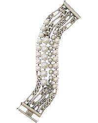 Lanvin | Metallic Glass Pearl Curb Chain Bracelet | Lyst