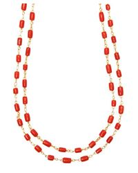 Gurhan - Red Gold Coral Beaded Long Necklace - Lyst