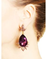 Oscar de la Renta | Purple Ultraviolet Swarovski Crystal Teardrop Earrings | Lyst