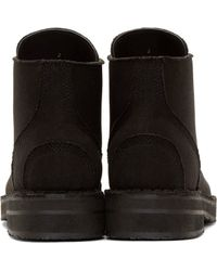 Yohji Yamamoto - Black Canvas & Leather Combat Boots for Men - Lyst
