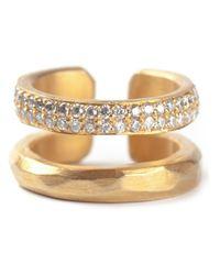 Haider Ackermann - Metallic Pavé Diamonds Open Ring - Lyst