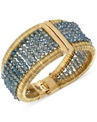Kenneth Cole | Gold-tone Woven Blue Bead Hinged Bangle Bracelet | Lyst