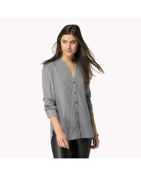 Tommy Hilfiger - Gray Cotton Viscose Collarless Shirt - Lyst