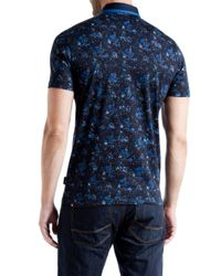 Ted Baker | Blue Simorg Tropical Leaf Print Polo Shirt for Men | Lyst