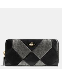 COACH - Black Accordion Zip Wallet In Patchwork Leather - Lyst