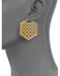 Tory Burch | Metallic Perforated Logo Hoop Earrings | Lyst