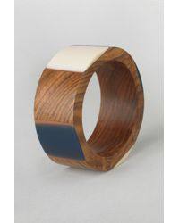 French Connection - Blue Resin Wood Bangle - Lyst