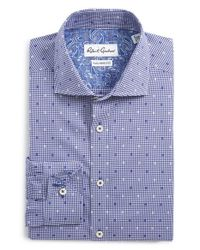 Robert Graham - Blue 'romano' Tailored Fit Check Dress Shirt for Men - Lyst