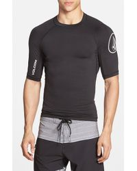 Volcom | Black Fitted Half Sleeve Rashguard for Men | Lyst