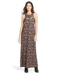RVCA - Brown 'tied Up' Print Maxi Dress - Lyst