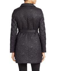 T Tahari | Black Stand Collar Quilted Coat | Lyst