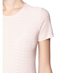 Armani | Pink Textured Knit Short Sleeve Top | Lyst