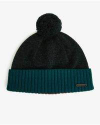 Ted Baker - Blue Color Block Bobble Beanie for Men - Lyst