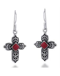 Aeravida | Metallic Victorian Cross Red Faith Coral .925 Silver Earrings | Lyst