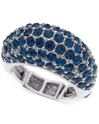 T Tahari | Silver-tone Blue Pavé Stretch Ring | Lyst