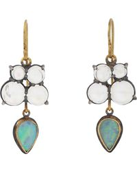 Judy Geib | Green Opal, Moonstone & Gold Drop Earrings | Lyst