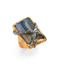 Alexis Bittar | Metallic Elements Phoenix Labradorite Rocky Rectangle Ring | Lyst