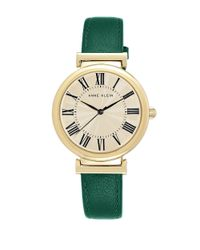 Anne Klein Goldtone Green Leather Strap Watch