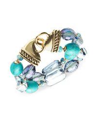Jones New York - Goldtone Mixed Blue Bead Tworow Stretch Bracelet - Lyst