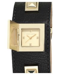 Vince Camuto - Metallic Pyramid Case Leather Strap Watch - Lyst