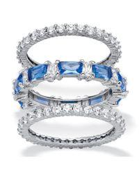 Palmbeach Jewelry - Metallic 3.24 Tcw Cubic Zirconia And Blue Emerald-cut Crystal 3-piece Eternity Ring Set Platinum-plated - Lyst