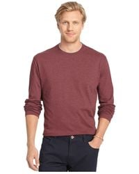 Izod | Brown Long-sleeve Jersey Crew Shirt for Men | Lyst