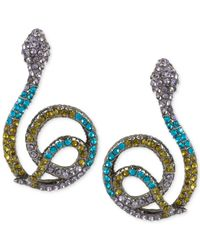 Betsey Johnson | Multicolor Hematite-tone Pavé Snake Wrap Drop Earrings | Lyst