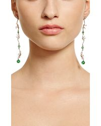 Marc Alary - Green 18k White Gold Monkey Earrings with Raw Emeralds - Lyst