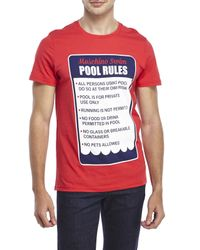 Moschino | Red Pool Rules Tee for Men | Lyst