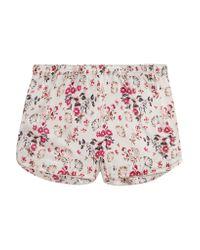 Stella McCartney - Pink Ellie Leaping Printed Stretch-silk Satin Pajama Shorts - Lyst