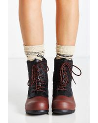 HUNTER - Black Quilted Short Lace-up Boot - Lyst