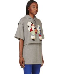 3.1 Phillip Lim - Gray Grey Layered and Embroidered Poodle Tunic Hoodie - Lyst