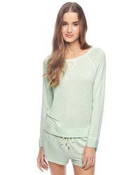 Splendid - Green Lace Trim Pullover - Lyst