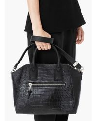 Mango - Black Zip Tote Bag - Lyst