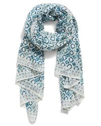 Halogen - Blue 'Mini Tile' Geometric Print Scarf - Lyst