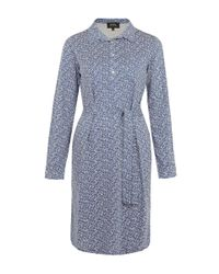 A.P.C. | Light Blue Miniprint Shirt Dress | Lyst