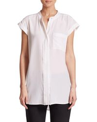 Vince - White Frayed Silk Blouse - Lyst