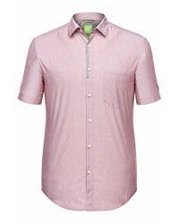 BOSS Green Purple Regular-fit Short-sleeve Shirt: 'biasino' With A Fine Pattern for men