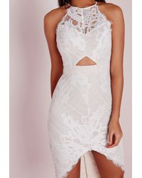 Missguided | Lace Curve Hem Midi Dress White/nude | Lyst