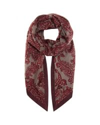 Loro Piana - Purple Printed Cashmere And Suede Scarf - Lyst