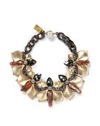 Assad Mounser | Metallic Stone Crystal Orchid Link Necklace | Lyst
