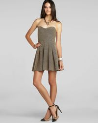 BCBGeneration - Gray Dress Topstitched Patterned - Lyst